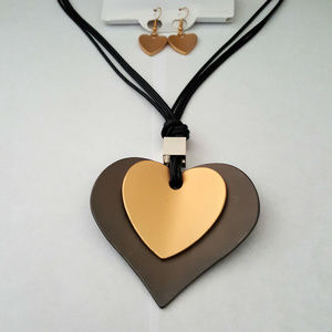 Chunky Long Multi Cord Heart Pendant Necklace Set